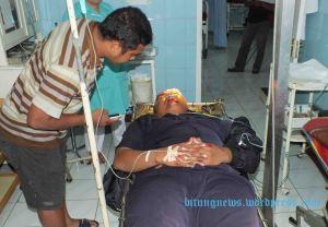 Korban Lakalantas Adrian Budiman jalani Perawatan di IGD RS Budi Mulia Bitung. (ardan gala)