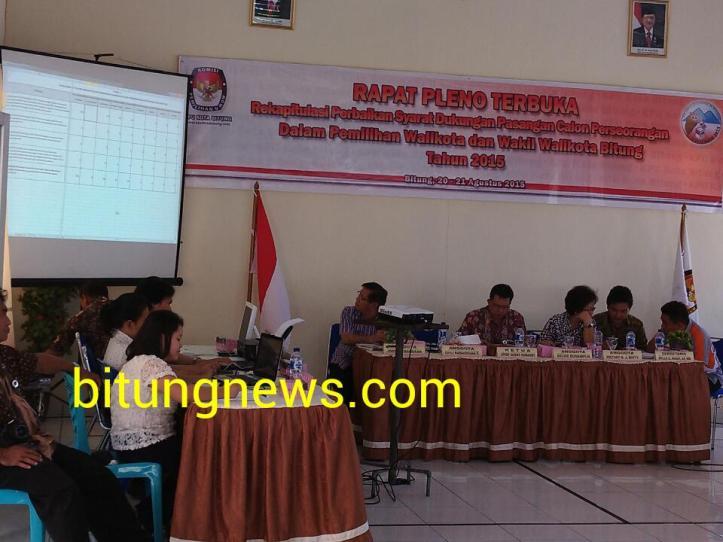 Suasana Rapat Pleno Terbuka Rekapitulasi Perbaikan Syarat Dukungan Calon Perseorangan