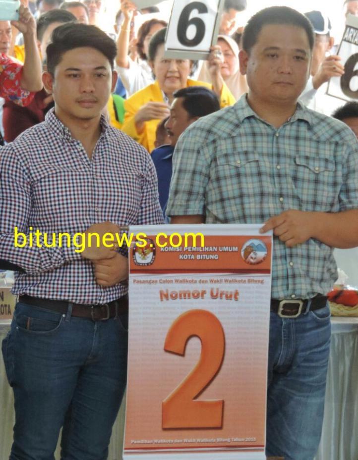 Pasangan Calon Walikota dan Wakil Walikota Stefan Pasuma dan Mario Karundeng mendapatkan Nomor Urut 2