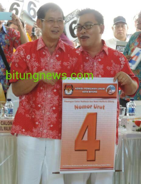 Pasangan Cawali dan Wawali Hengky Honandar dan Fabian Kaloh mendapatkan nomor urut 4
