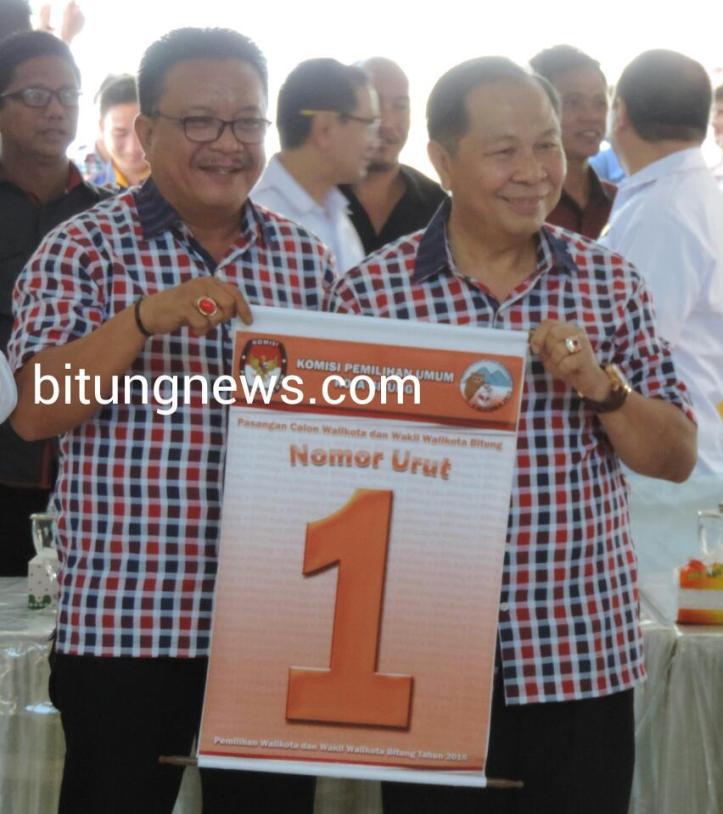 Pasangan Calon Walikota dan Wakil Waliokto Max Lomban - Maurits Mantiri dengan nomor urut 1