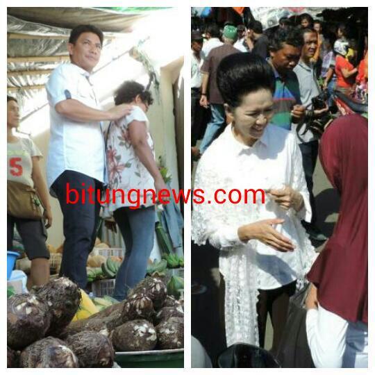 Aryanthi Baramuli dan Santy Luntungan berdialog dengan pedagang Pasar Girian