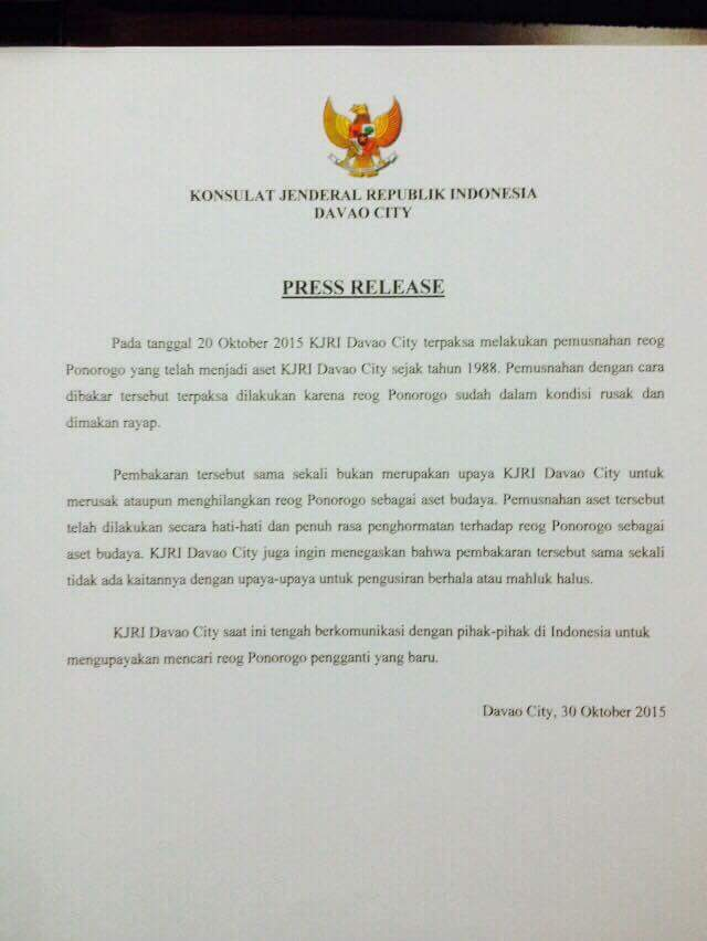 Press Release KJRI Davao