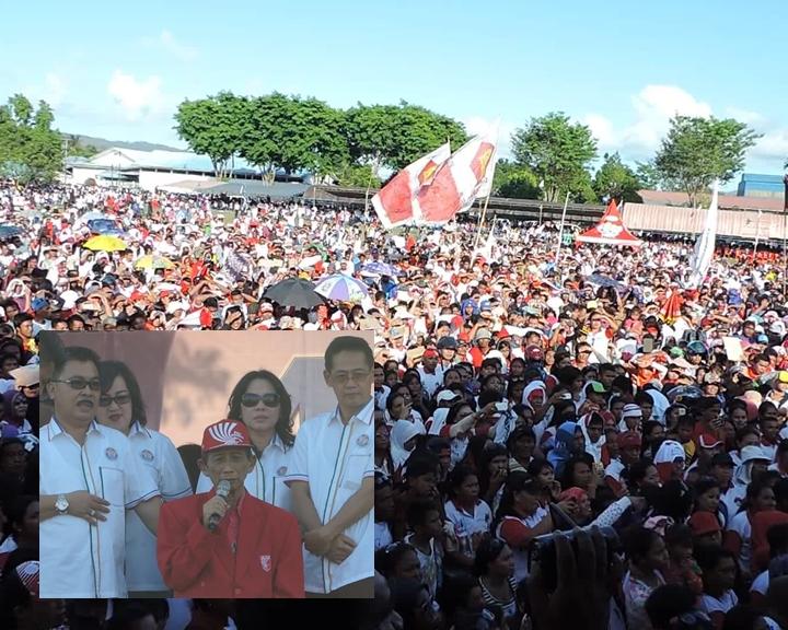 Walikota Bitung, Hanny Sondakh Berorasi di hadapan pendukung dan simpatisan Kandidat HH-FK.