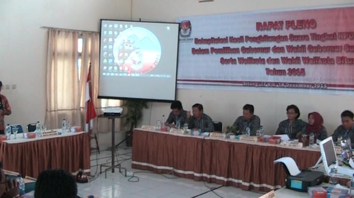 Rapat Pleno Rekapitulasi Pilkada di KPU Bitung molor, karena menunggu kehadiran Panwaslu