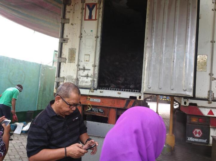 Ketua APIKI Sulawesi Utara, Basmi Said,  melihat kualitas ikan import dari Korea Selatan