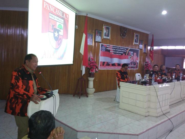 Walikota Bitung, Max Lomban, membuka Muscab Pemuda Pancasila