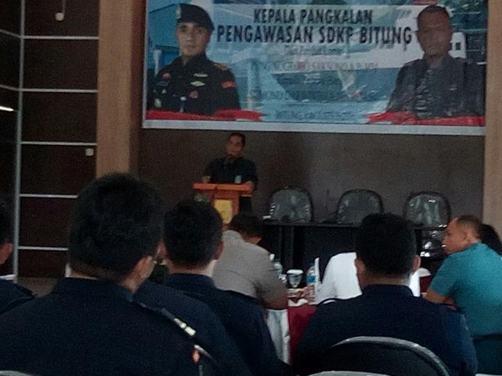 Mantan Kepala Pangkalan PSDKP Bitung, Pung Nugroho, MM. Sampaikan kesan-pesan di acara pisah sambut Pangkalan PSDKP Bitung