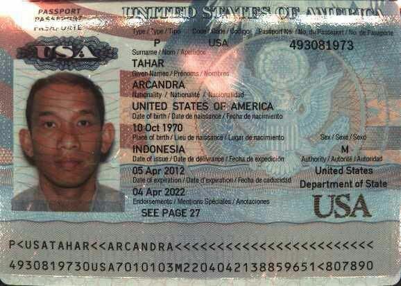 Pasport Amerika Serikat, Mantan Menteri ESDM, Arcandra Tahar
