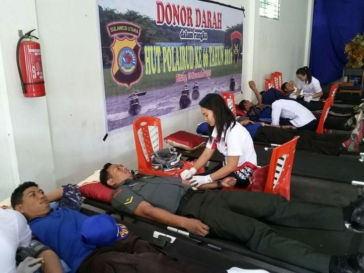 Donor darah Ditpolair Polda Sulut, sumbangkan lebih dari 150 kantong darah kepada PMI Cabang Bitung
